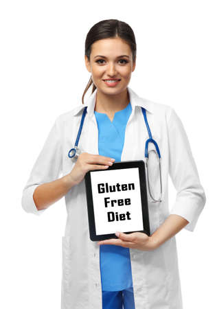 Photo for Nutritionist doctor with clipboard and text Gluten Free Diet, isolated on white - Royalty Free Image