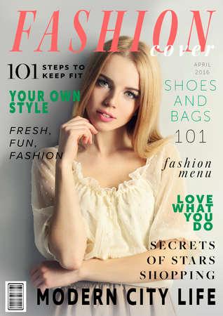 Foto de Attractive young woman on fashion magazine cover. Fashionable lifestyle concept. - Imagen libre de derechos