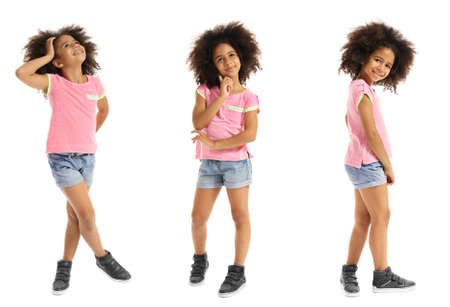 Photo for Collage of little cute girl having fun on white background. - Royalty Free Image