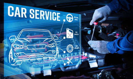 Photo for Interface of modern car diagnostic program on engine background. Car service concept. - Royalty Free Image