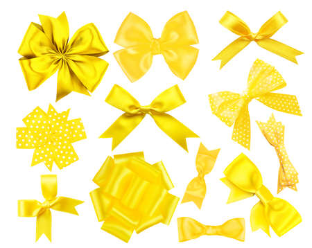 Photo for Set of yellow festive bows on white background - Royalty Free Image