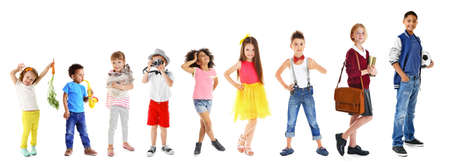Photo for Collage of cute children on white background - Royalty Free Image