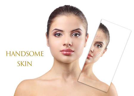 Photo pour Skin care concept. Young woman on white background - image libre de droit