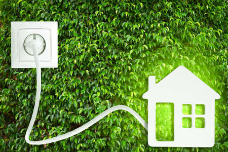 Foto de Socket with plug and home figure on green leaves background - Imagen libre de derechos