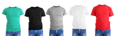 Foto de Different male t-shirts on white background - Imagen libre de derechos