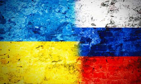 Foto de Governments conflict concept. Damaged wall colored in Ukrainian and Russian flags - Imagen libre de derechos