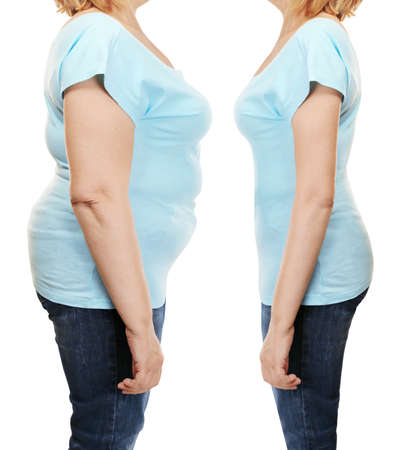 Foto de Mature woman's body before and after weightloss on white background. Health care and diet concept. - Imagen libre de derechos