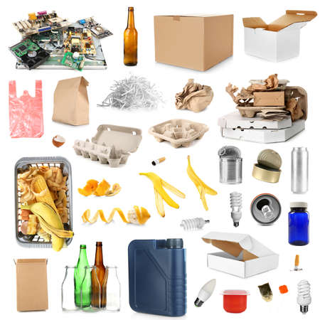 Photo pour Different kinds of garbage on white background. Concept of recycling - image libre de droit
