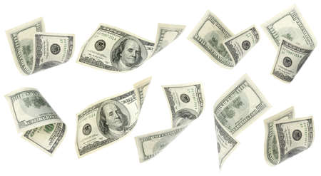 Foto per Flying money on white background - Immagine Royalty Free