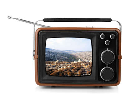Photo pour Retro TV on white background - image libre de droit