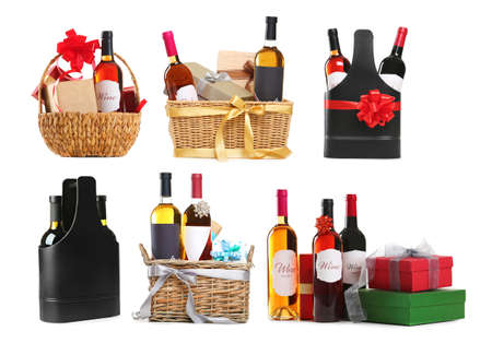 Photo for Set of wine gifts with festive decor on white background - Royalty Free Image