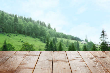 Photo pour Wooden surface on beautiful landscape background - image libre de droit