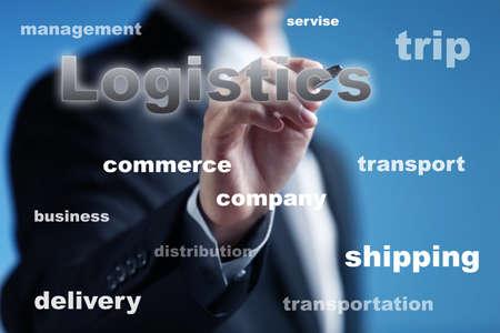 Foto für Logistics and wholesale concept. Man working with virtual screen - Lizenzfreies Bild