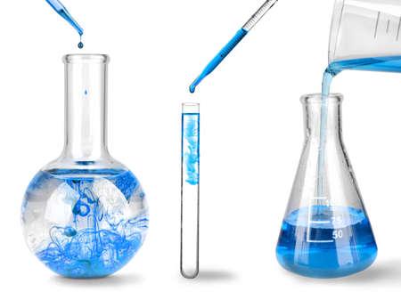 Foto de Set of laboratory glassware on white background  - Imagen libre de derechos