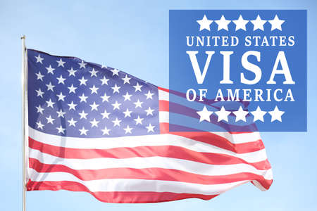 Photo pour Text VISA UNITED STATES OF AMERICA and USA flag on sky background - image libre de droit