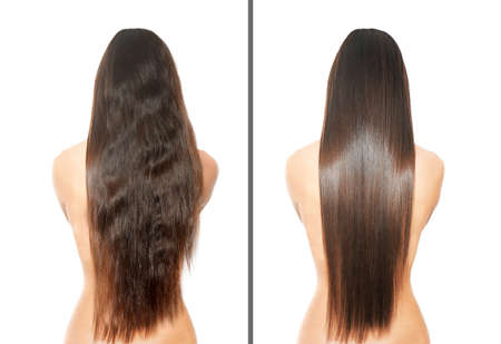 Photo for Woman before and after hair treatment on white background - Royalty Free Image