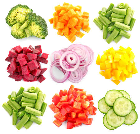 Foto de Variety of chopped vegetables on white background - Imagen libre de derechos