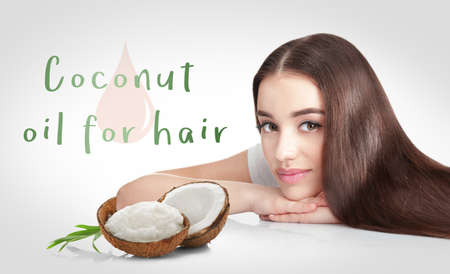 Photo for Coconut oil for hair. Young woman and cosmetic on white background - Royalty Free Image