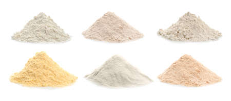 Photo for Different kinds of flour on white background - Royalty Free Image
