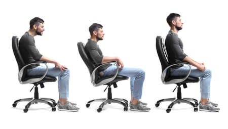Photo for Rehabilitation concept. Collage of man with poor and good posture sitting in armchair on white background - Royalty Free Image