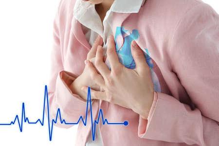 Foto de Heart attack concept. Woman suffering from chest pain, closeup - Imagen libre de derechos