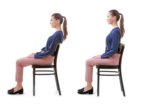 Photo for Rehabilitation concept. Collage of woman with poor and good posture sitting on chair against white background - Royalty Free Image