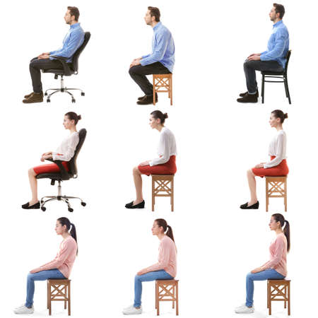 Photo pour Rehabilitation concept. Collage of people with poor and good posture sitting on chair against white background - image libre de droit
