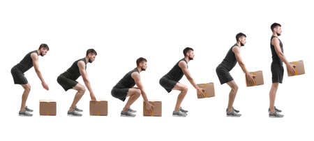 Photo pour Rehabilitation concept. Collage of man with good posture lifting heavy cardboard box on white background - image libre de droit