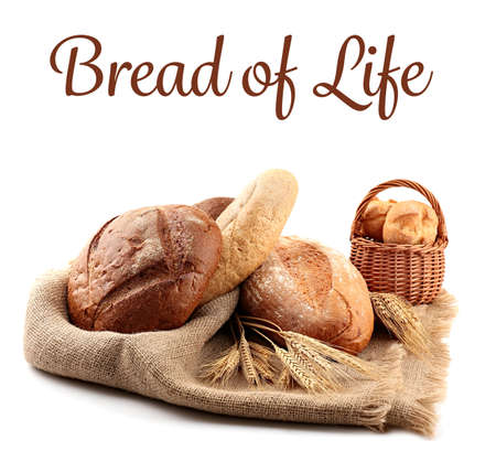 Photo for Assortment of bread and text on white background - Royalty Free Image