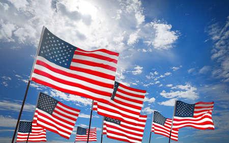 Photo pour Waving USA flags on sky background. Patriotic concept - image libre de droit