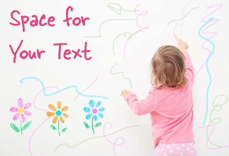 Photo pour Art concept. Cute little girl drawing on white background with space for design - image libre de droit