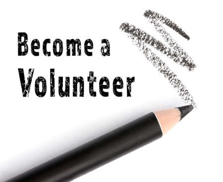 Foto de Text BECOME A VOLUNTEER and pencil on white background. Concept of support and help - Imagen libre de derechos