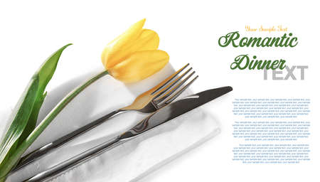 Foto de Cutlery, tulip and napkin with space for text on white background, closeup - Imagen libre de derechos