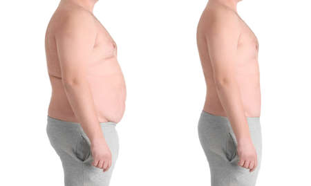 Photo for Male body before and after weightloss on white background. Health care and diet concept - Royalty Free Image