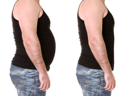 Foto de Male body before and after weightloss on white background. Health care and diet concept - Imagen libre de derechos