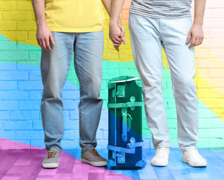 Photo pour Gay couple with suitcase, passports and tickets on brick wall background. Homosexual marriage concept - image libre de droit