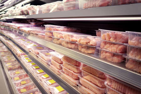 Photo for Shelves with fresh meat in supermarket - Royalty Free Image