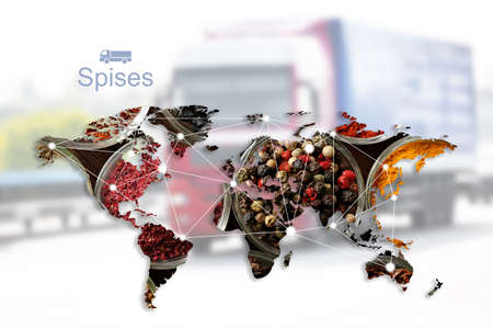 Foto per World map of different spices and truck on background. Logistic and wholesale concept - Immagine Royalty Free