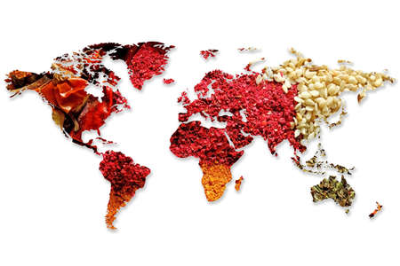 Foto per Double exposure of world map and different spices on white background. Logistic and wholesale concept - Immagine Royalty Free