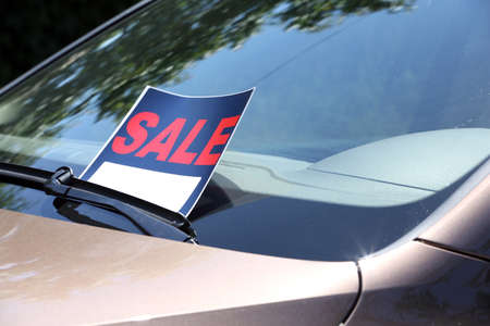 Photo for For sale sign on windshield of car. - Royalty Free Image