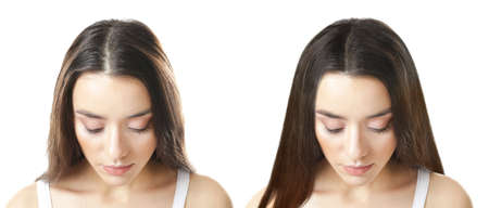 Foto de Beautiful young woman before and after procedure of hair extension in professional salon on white background - Imagen libre de derechos