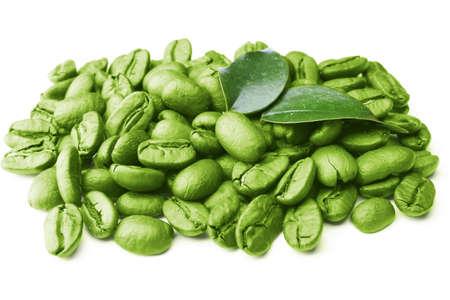 Foto de Coffee beans with leaves isolated on white - Imagen libre de derechos