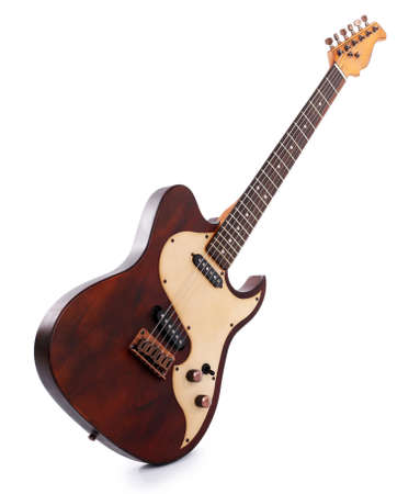 Photo pour Electric guitar isolated on white - image libre de droit