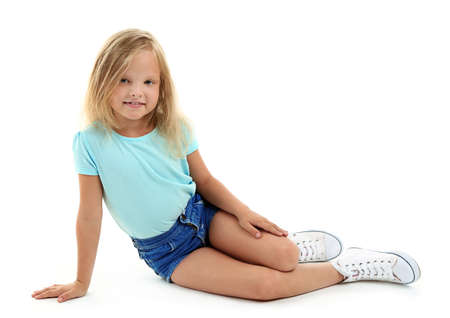 Photo for Beautiful little girl, isolated on white - Royalty Free Image