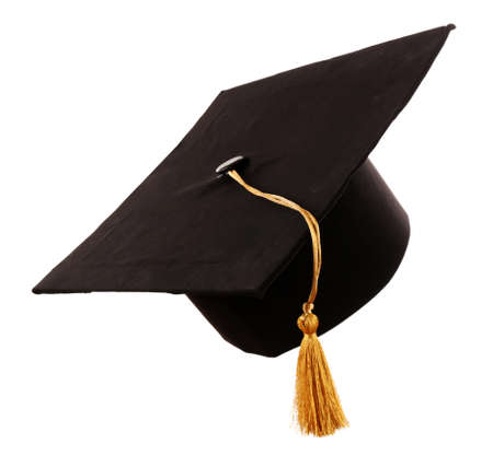 Foto de Black student hat, isolated on white - Imagen libre de derechos