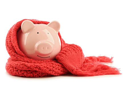 Photo pour Piggy bank wearing scarf, isolated on white. Saving heating concept - image libre de droit