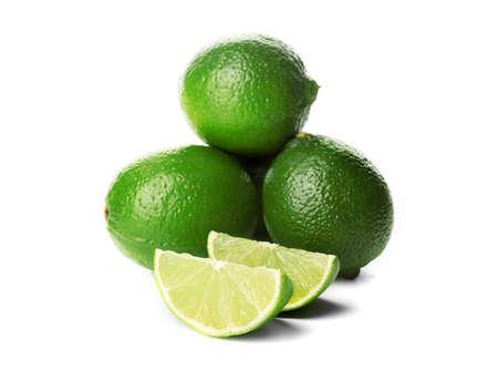 Foto de Fresh limes, isolated on white background - Imagen libre de derechos