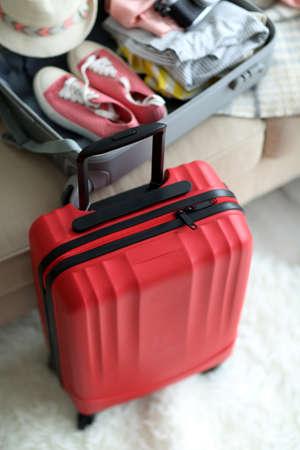 Foto de Large red polycarbonate suitcase, close up - Imagen libre de derechos