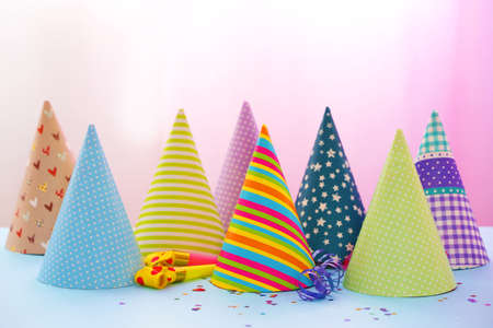 Photo for Party hats on bright background - Royalty Free Image