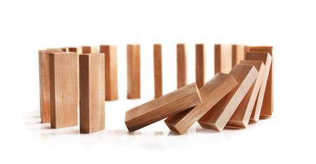 Photo for Wooden dominoes on light background - Royalty Free Image